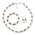 White Imitation Pearl Bead With Diamante Ring Necklace, Bracelet & Earrings Set (Silver Tone Metal) - view 3