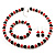 Black & Red Bead With Diamante Ring Necklace, Bracelet & Earrings Set (Silver Tone Metal) - view 9
