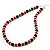 Black & Red Bead With Diamante Ring Necklace, Bracelet & Earrings Set (Silver Tone Metal) - view 4