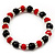 Black & Red Bead With Diamante Ring Necklace, Bracelet & Earrings Set (Silver Tone Metal) - view 5
