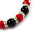 Black & Red Bead With Diamante Ring Necklace, Bracelet & Earrings Set (Silver Tone Metal) - view 7