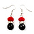 Black & Red Bead With Diamante Ring Necklace, Bracelet & Earrings Set (Silver Tone Metal) - view 6