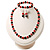 Black & Red Bead With Diamante Ring Necklace, Bracelet & Earrings Set (Silver Tone Metal) - view 8