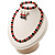 Black & Red Bead With Diamante Ring Necklace, Bracelet & Earrings Set (Silver Tone Metal) - view 3