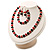 Black & Red Bead With Diamante Ring Necklace, Bracelet & Earrings Set (Silver Tone Metal) - view 10