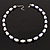 White & Royal Blue Imitation Pearl Bead With Diamante Ring Necklace, Bracelet & Earrings Set (Silver Tone Metal) - 44cm L/ 4cm Ext - view 10