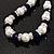 White & Royal Blue Imitation Pearl Bead With Diamante Ring Necklace, Bracelet & Earrings Set (Silver Tone Metal) - 44cm L/ 4cm Ext - view 8