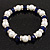 White & Royal Blue Imitation Pearl Bead With Diamante Ring Necklace, Bracelet & Earrings Set (Silver Tone Metal) - 44cm L/ 4cm Ext - view 11