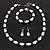 White & Royal Blue Imitation Pearl Bead With Diamante Ring Necklace, Bracelet & Earrings Set (Silver Tone Metal) - 44cm L/ 4cm Ext - view 13
