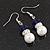 White & Royal Blue Imitation Pearl Bead With Diamante Ring Necklace, Bracelet & Earrings Set (Silver Tone Metal) - 44cm L/ 4cm Ext - view 14