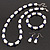 White & Royal Blue Imitation Pearl Bead With Diamante Ring Necklace, Bracelet & Earrings Set (Silver Tone Metal) - 44cm L/ 4cm Ext - view 3