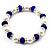 White & Royal Blue Imitation Pearl Bead With Diamante Ring Necklace, Bracelet & Earrings Set (Silver Tone Metal) - 44cm L/ 4cm Ext - view 5