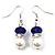 White & Royal Blue Imitation Pearl Bead With Diamante Ring Necklace, Bracelet & Earrings Set (Silver Tone Metal) - 44cm L/ 4cm Ext - view 6