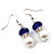 White & Royal Blue Imitation Pearl Bead With Diamante Ring Necklace, Bracelet & Earrings Set (Silver Tone Metal) - 44cm L/ 4cm Ext - view 20