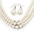 3-Strand Simulated Glass Pearl Necklace & Drop Earrings Set In Silver Plated Metal - 45cm L - view 3