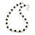 White Imitation Pearl & Black Glass Bead With Diamante Ring Necklace, Bracelet & Earrings Set (Silver Tone Metal) - view 2
