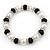 White Imitation Pearl & Black Glass Bead With Diamante Ring Necklace, Bracelet & Earrings Set (Silver Tone Metal) - view 4