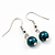 Teal Green Glass Bead Necklace & Drop Earring Set In Silver Metal - 38cm Length/ 4cm Extension - view 3
