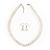 White Glass Bead Necklace & Drop Earring Set In Silver Metal - 38cm Length/ 4cm Extension