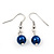 Violet Blue Glass Bead Necklace & Drop Earring Set In Silver Metal - 38cm L/ 4cm Ext - view 3