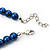 Violet Blue Glass Bead Necklace & Drop Earring Set In Silver Metal - 38cm L/ 4cm Ext - view 4