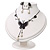 Romantic Faux Pearl 'Butterfly' Necklace & Drop Earrings Set In Black Metal - view 12