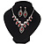 Red Clear Swarovski Crystal 'Leaf' Necklace And Drop Earring Set In Silver Plated Metal - view 9