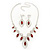 Red Clear Swarovski Crystal 'Leaf' Necklace And Drop Earring Set In Silver Plated Metal - view 6