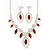 Red Clear Swarovski Crystal 'Leaf' Necklace And Drop Earring Set In Silver Plated Metal - view 2