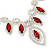 Red Clear Swarovski Crystal 'Leaf' Necklace And Drop Earring Set In Silver Plated Metal - view 3