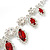 Red Clear Swarovski Crystal 'Leaf' Necklace And Drop Earring Set In Silver Plated Metal - view 4