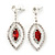Red Clear Swarovski Crystal 'Leaf' Necklace And Drop Earring Set In Silver Plated Metal - view 5