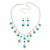 Bridal Teal/Clear Diamante 'Teardrop' Necklace & Earrings Set In Silver Plating - view 15