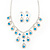Bridal Teal/Clear Diamante 'Teardrop' Necklace & Earrings Set In Silver Plating - view 3