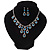 Bridal Teal/Clear Diamante 'Teardrop' Necklace & Earrings Set In Silver Plating - view 14