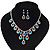 Bridal Teal/Clear Diamante 'Teardrop' Necklace & Earrings Set In Silver Plating - view 2