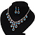 Bridal Teal/Clear Diamante 'Teardrop' Necklace & Earrings Set In Silver Plating - view 12