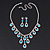Bridal Teal/Clear Diamante 'Teardrop' Necklace & Earrings Set In Silver Plating - view 9