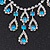Bridal Teal/Clear Diamante 'Teardrop' Necklace & Earrings Set In Silver Plating - view 8