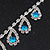 Bridal Teal/Clear Diamante 'Teardrop' Necklace & Earrings Set In Silver Plating - view 10