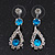 Bridal Teal/Clear Diamante 'Teardrop' Necklace & Earrings Set In Silver Plating - view 6
