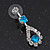 Bridal Teal/Clear Diamante 'Teardrop' Necklace & Earrings Set In Silver Plating - view 11