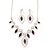 Purple/Clear Swarovski Crystal 'Leaf' Necklace And Drop Earring Set In Silver Plated Metal