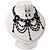 Black Glass Bead Gothic Costume Choker Necklace And Earring Set In Silver Plating - view 13