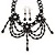 Black Glass Bead Gothic Costume Choker Necklace And Earring Set In Silver Plating - view 4