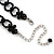 Black Glass Bead Gothic Costume Choker Necklace And Earring Set In Silver Plating - view 9