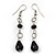 Black Glass Bead Gothic Costume Choker Necklace And Earring Set In Silver Plating - view 10