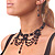 Black Glass Bead Gothic Costume Choker Necklace And Earring Set In Silver Plating - view 3