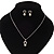 Delicate Faux Pearl Diamante 'Heart' Pendant Necklace & Stud Earrings Set In Silver Plating - view 8