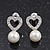 Delicate Faux Pearl Diamante 'Heart' Pendant Necklace & Stud Earrings Set In Silver Plating - view 4
